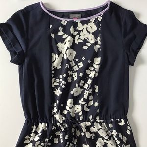 Vince Camuto Navy and Floral Print Dress
